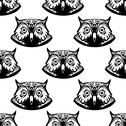 Stock Illustration of seamless pattern of wise owl heads