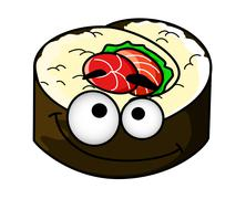 Fun portion of cartoon sushi Stock Illustration