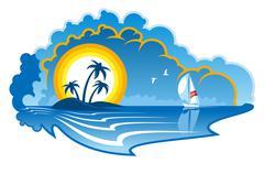 idyllic tropical island with a yacht - stock illustration