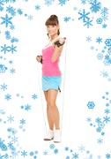 Stock Illustration of fitness instructor with jump rope