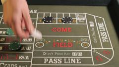 Craps betting, Closeup - stock footage