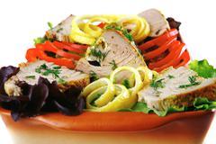 atlantic tuna served on plate - stock photo