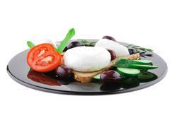 fresh mozzarella cheese - stock photo