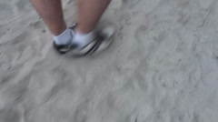 Walking On Sand Stock Footage