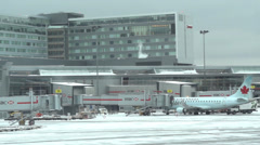 Winter Airport Activity , Montreal Canada YUL - stock footage