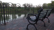 Stock Video Footage of bench at Newport Riverside
