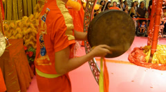 Gong players at a lion dance performance with sound (LION DANCE--10A) Stock Footage
