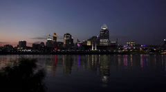 Newport Riverside pan to Cincinnati Skyline by night Stock Footage