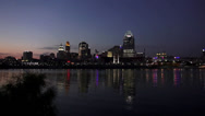 Stock Video Footage of Newport Riverside pan to Cincinnati Skyline by night