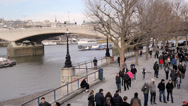 Stock Video Footage of LONDON - 24 JANUARY - River Thames with people passing by