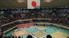Japanese Martial Arts Demonstration Arena View from Nose Bleed Seats Stock Footage