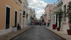 Old San Juan Puerto Rico business street HD 1728 Stock Footage