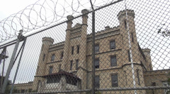Barbwire, Prison, Joliet correctional facility Illinois Stock Footage