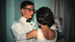 Couple Dancing On Prom Night-1966 Vintage 8mm film - stock footage