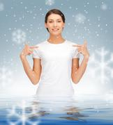 Stock Illustration of happy and carefree teenage girl in water