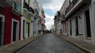 Stock Video Footage of Old San Juan Puerto Rico cobblestone street HD 1726