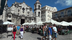 Havana Cathedral And Tourists Stock Footage