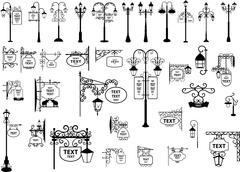 Street signs and lanterns Stock Illustration