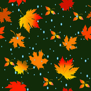 Seamless pattern with leaves and raindrops. vector illustration Stock Illustration