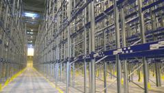 New modern warehouse rack Stock Footage