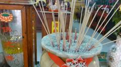 HD video burnt incense sticks at a Taoist temple. Stock Footage