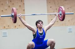 heavy athletics, weightlifter - stock photo