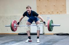 Heavy athletics, weightlifter Stock Photos