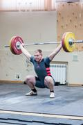heavy athletics, weightlifter - stock photo