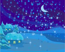 Winter landscape, christmas scene Stock Illustration