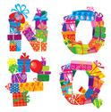 Stock Illustration of nopq - english alphabet - letters are made of gift boxes and presents