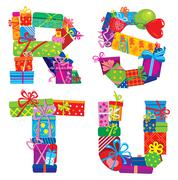 rstu - english alphabet - letters are made of gift boxes - stock illustration
