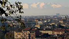 View of Torino with snow mountains# Stock Footage