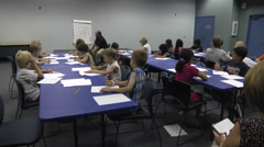 Drawing class WS students and teacher Stock Footage