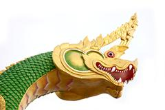 Serpent statue in the temple. Stock Photos