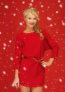 Stock Illustration of lovely woman in red dress