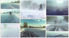 Snow blizzard-Multi Sreen Stock Footage