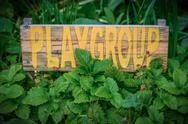 Stock Photo of rustic sign for school playgroup