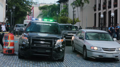 Old San Juan police car traffic Puerto Rico HD 0603 Stock Footage