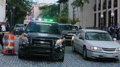 Old San Juan police car traffic Puerto Rico HD 0603 Stock Footage
