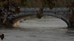 Arch of a bridge on the Tiber in Rome, Italy Stock Footage