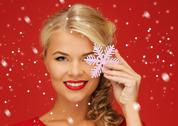 Stock Illustration of lovely woman in red dress with snowflake
