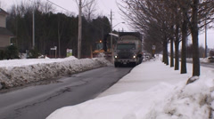 Road snow blower with heavy trucks. #2 - stock footage