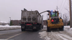 Road snow blower with heavy trucks. #8 Stock Footage