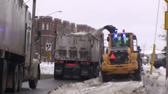 Road snow blower with heavy trucks. #11 - stock footage