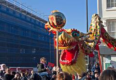 liverpool, uk, february 2  2014. street parade to mark chinese new year 2014 - stock photo