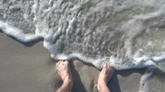 Splashed Feet On The Beach Slowmotion Stock Footage
