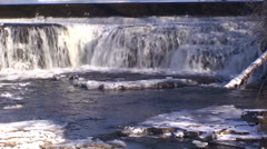 Waterfalls and flowing river with snow and ice. #3 - stock footage