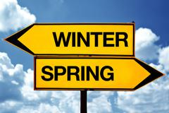 winter or spring opposite signs - stock illustration