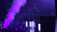 CO2 cannon and smoke and confetti at dance event Stock Footage