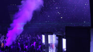 Stock Video Footage of CO2 cannon and smoke and confetti at dance event